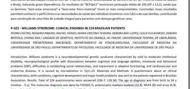 Síndrome de Williams: Achados clínicos em 224 pacientes brasileiros Pesquisa apresentada no XXX Congresso Brasileiro de Genética Médica – junho de 2018 A Síndrome de Williams é uma síndrome genética […]